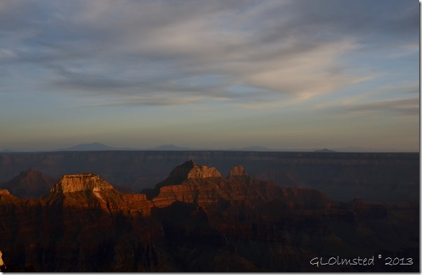 Last light on temples North Rim Grand Canyon National Park Arizona