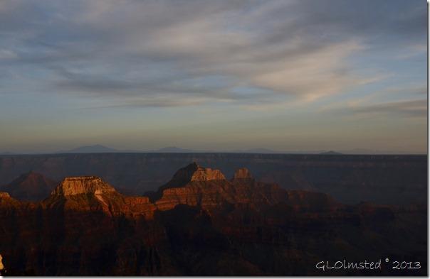 Last light on temples North Rim Grand Canyon National Park Arizona