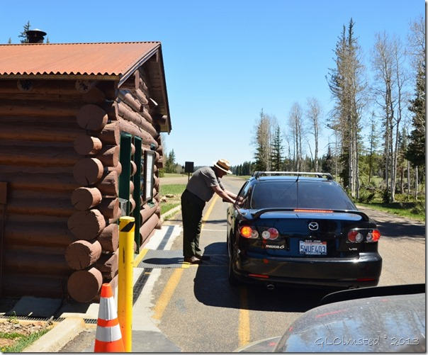 Park Ranger greets visitors at entrance station North Rim Grand Canyon National Park Arizona