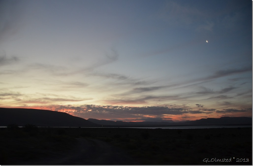 Sunset and moon Camdeboo National Park Eastern Cape Graaff-Reinet South Africa