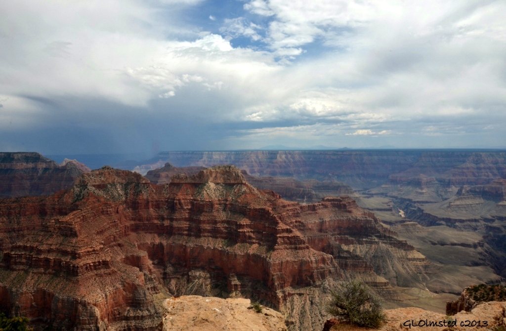 Stormy SE view & Colorado River from Point Sublime North Rim Grand Canyon National Park Arizona