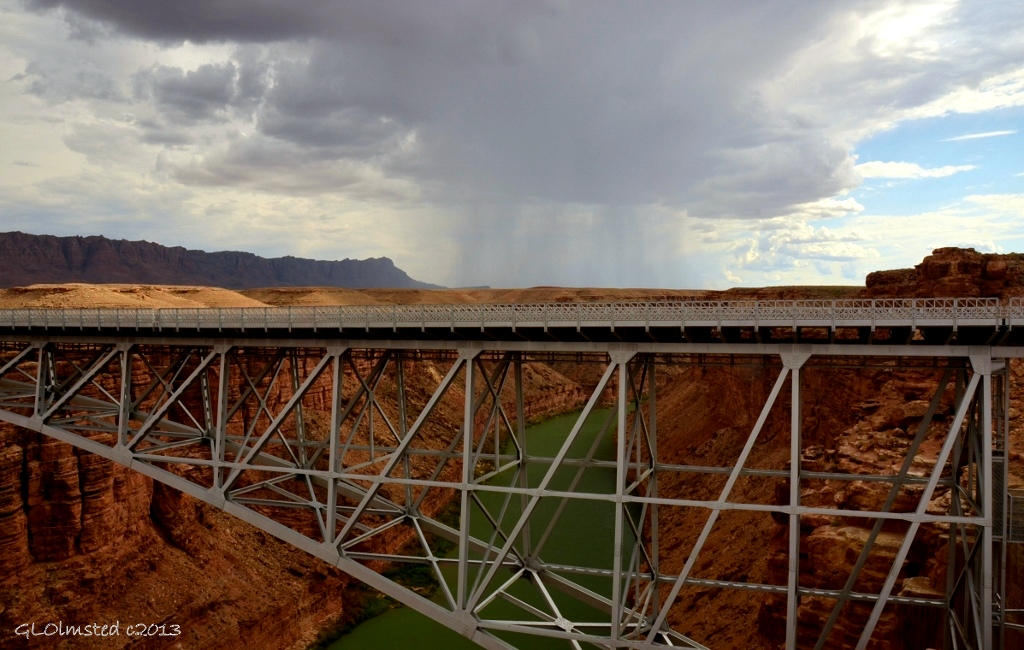 Stormy sky over Colorado River from Navajo Bridge Marble Canyon Arizona