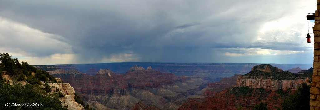 Rain on SR & temples from Lodge North Rim Grand Canyon National Park Arizona