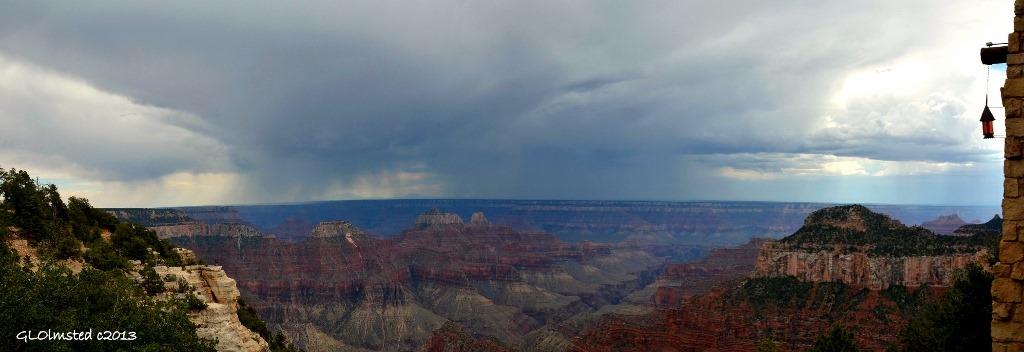 Rain on SR & temples from Lodge North Rim Grand Canyon National Park Arizona