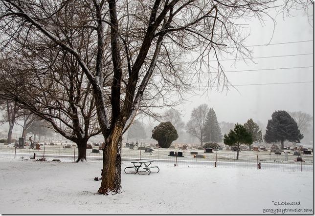 Snowy view from RV Kanab Utah