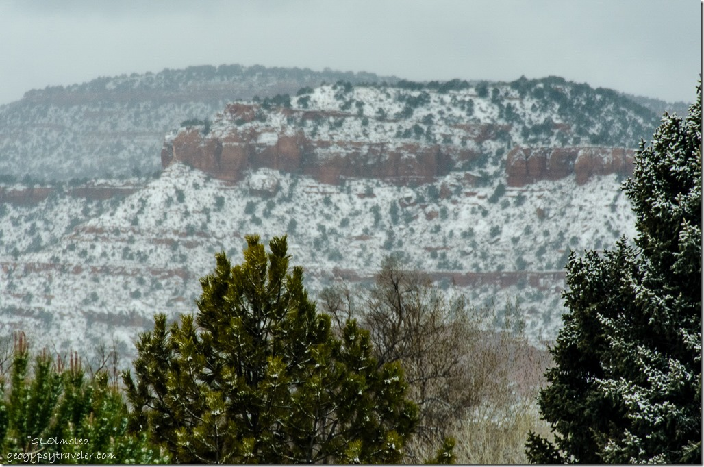 Snow on the red rocks Kanab Utah