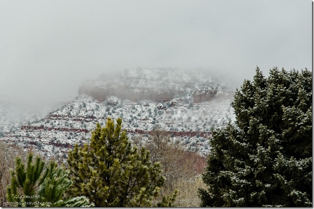 Fog & snow on Vermilion Cliffs from RV window Kanab Utah