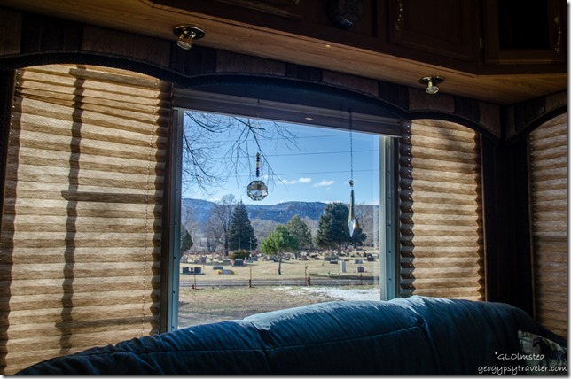 View thru RV window Kanab Utah