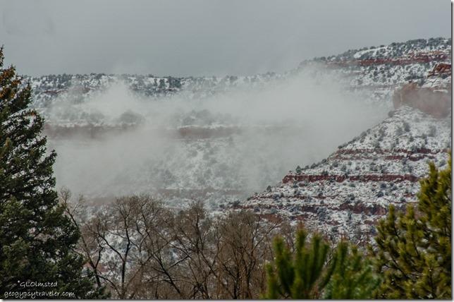 Fog & snow on Vermilion Cliffs from RV window Kanab Utah